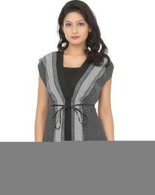 Adhaans Casual Sleeveless Printed Women's Black, White Top