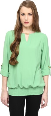 Rare Casual Short Sleeve Solid Women,s Green Top