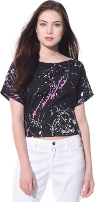 Uptownie Lite Casual Short Sleeve Printed Women's Black Top