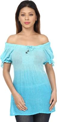 Sataro Casual, Party, Festive, Lounge Wear, Beach Wear Balloon Sleeve Striped Women's Blue Top