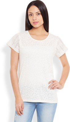 Anasazi Casual Cap sleeve Printed Women's White Top