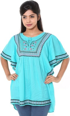 Old Khaki Casual Short Sleeve Embroidered Women's Blue Top