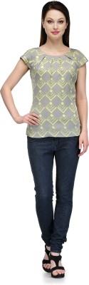 Glamdiva Casual Short Sleeve Geometric Print Women's Grey, Yellow Top