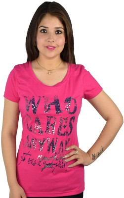 kaily Casual Short Sleeve Printed Women's Pink Top