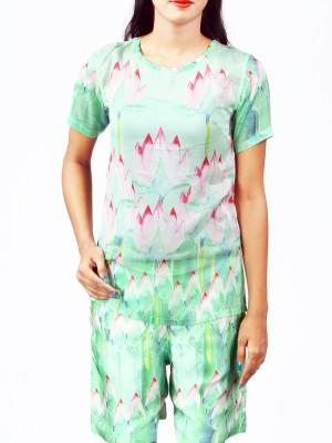 Priveeparis Casual Short Sleeve Printed Women's Multicolor Top