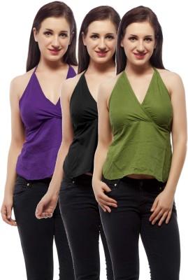 Indi Bargain Beach Wear Sleeveless Solid Women's Black, Green, Purple Top