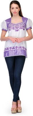 Belle Party Short Sleeve Embroidered Women's White, Purple Top