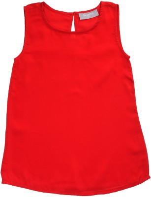 Kami Casual Sleeveless Solid Girl's Red Top