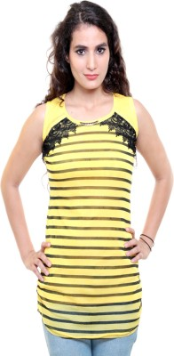 Sea Lion Casual Sleeveless Solid Women's Yellow, Black Top