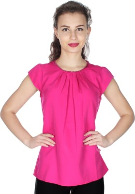 UVR Casual Cap sleeve Solid Women's Pink Top