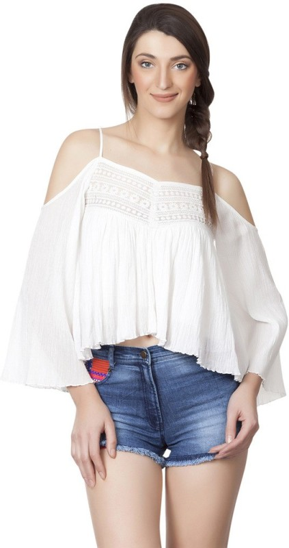Iralzo Casual Bell Sleeve Solid Women's White Top