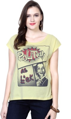 People Casual Short Sleeve Printed Women's Yellow Top at flipkart