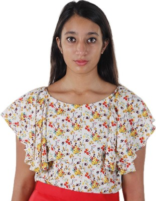 Mishe Designer Hub Casual Butterfly Sleeve Solid Women's Multicolor Top