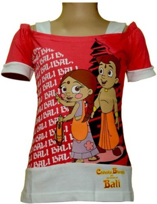 Chhota Bheem Casual Short Sleeve Printed Girl's Pink, White Top