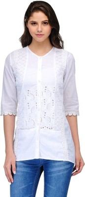 India Inc Casual 3/4 Sleeve Embroidered Women's White Top
