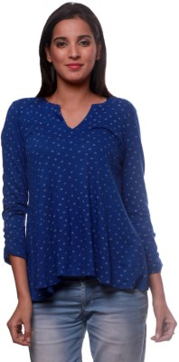 La Divyyu Party 3/4 Sleeve Printed Women's Blue Top