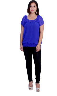 Rich Creations Casual, Party Short Sleeve Solid Women's Blue Top