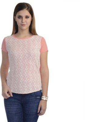 Belly Bottom Casual Short Sleeve Self Design Women's Beige, Pink Top