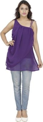 M Expose Casual Sleeveless Solid Women's Purple Top