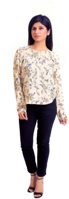 Feathers Closet Casual Full Sleeve Floral Print Women's White Top