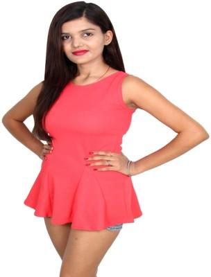 Vanya Enterprises Casual Sleeveless Solid Women's Pink Top