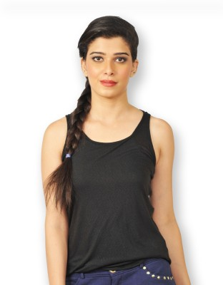 Riot Jeans Casual Sleeveless Solid Women's Black Top
