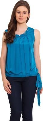 La Arista Casual Sleeveless Solid Women's Blue Top