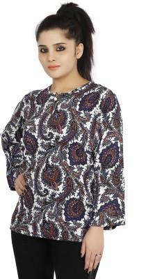 Sringar Casual 3/4 Sleeve Printed Women's Blue Top