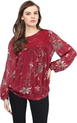 Rose Vanessa Casual Full Sleeve Printed Women's Maroon Top