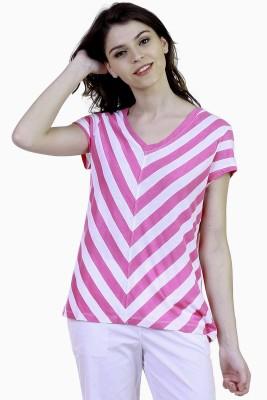 Caribbean Joe Beach Wear Short Sleeve Striped Women's Pink Top