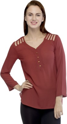 Primo Knot Casual 3/4 Sleeve Solid Women's Red Top