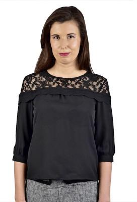Saffora Fashion Casual 3/4 Sleeve Solid Women's Black Top
