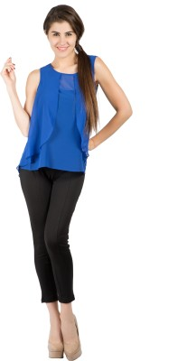 109F Casual Sleeveless Solid Women's Blue Top