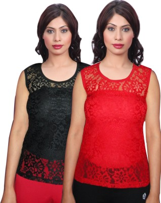 Selfcare Casual Sleeveless Self Design Women's Black, Red Top