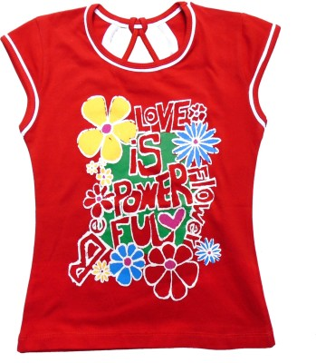 Sweet Angel Casual Short Sleeve Printed Girl's Red Top
