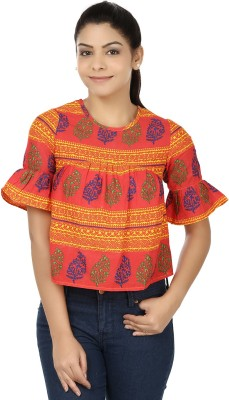 Modimania Casual Bell Sleeve Printed Women's Red, Yellow Top