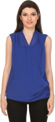 Oyshi Casual Sleeveless Solid Women's Blue Top