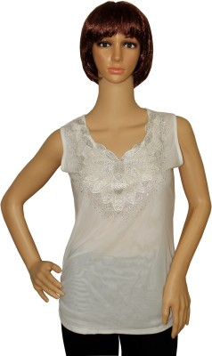 Sarva Party, Formal, Casual Sleeveless Embellished Women's White Top