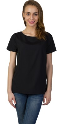 Today Fashion Casual Short Sleeve Solid Women's Black Top