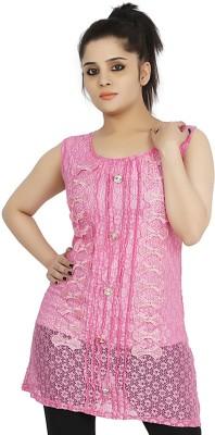 Sringar Casual Sleeveless Solid Women's Pink Top