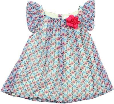 Soul Fairy Party Cap sleeve Geometric Print Baby Girl's Blue Top