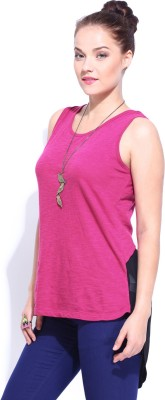 Dressberry Casual Sleeveless Solid Women's Pink Top at flipkart