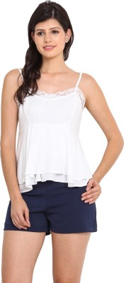 Nvl Casual Sleeveless Solid Women's White Top