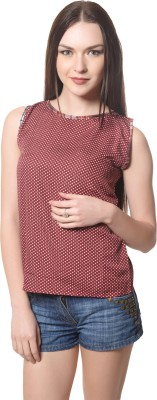 Dolla Casual, Festive, Formal, Lounge Wear, Party, Sports, Wedding Sleeveless Checkered Women's Brown Top