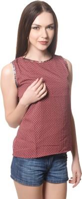 Shree Krishna Enterprise Party Sleeveless Solid Girl's Brown Top