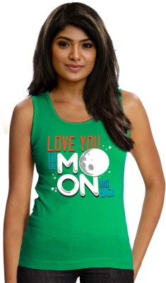 Wear Your Opinion Casual Sleeveless Printed Women,s Green Top