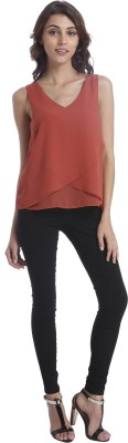 Only Casual Sleeveless Solid Women's Maroon Top