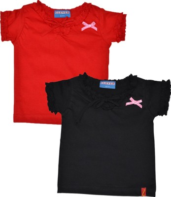 Clever Casual Short Sleeve Solid Girl's Black, Red Top