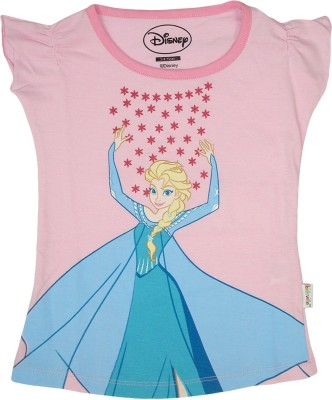 Frozen Casual Short Sleeve Printed Girl's Pink Top