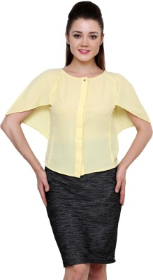 AT BY TARUNA Casual Short Sleeve Solid Women's Yellow Top